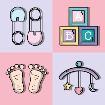 Set schattige baby's hulpmiddelen pictogrammen