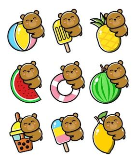 Set schattige beer met zomerconcept