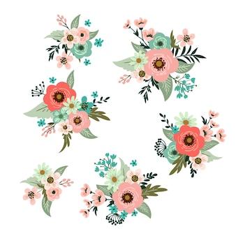 Set schattige bloementrossen in retrostijl