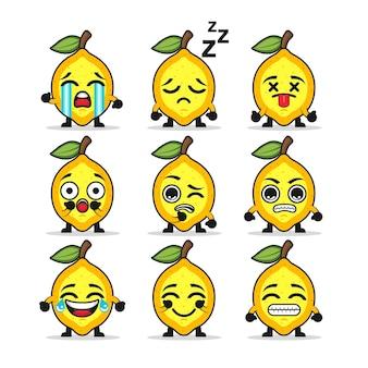 Set schattige citroenen met meerdere gezichten