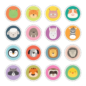 Set schattige dieren gezichten stickers.