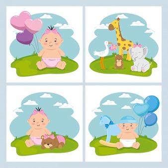 Set schattige elementen van babydouche