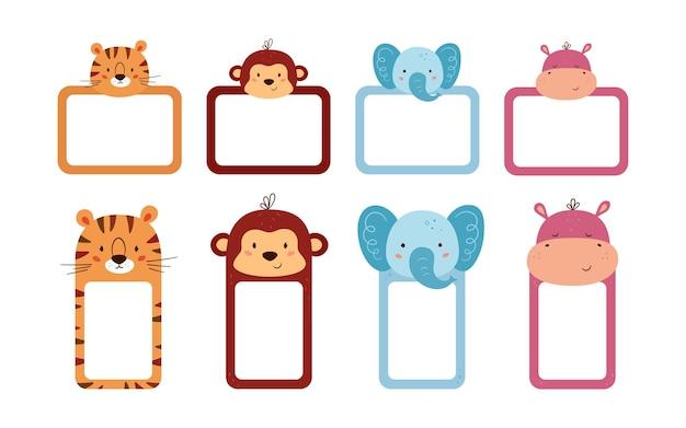 Set schattige fotolijsten en notitiepapier versierde dierenkoppen. schattige dieren bladsjablonen voor dagboek, tijdschema, memo. vak met ruimte voor tekst. vectorillustraties geïsoleerd op een witte achtergrond