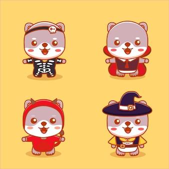 Set schattige kattendieren dragen halloween-kostuum als heks, duivel, skelet en vampier. cartoon vector