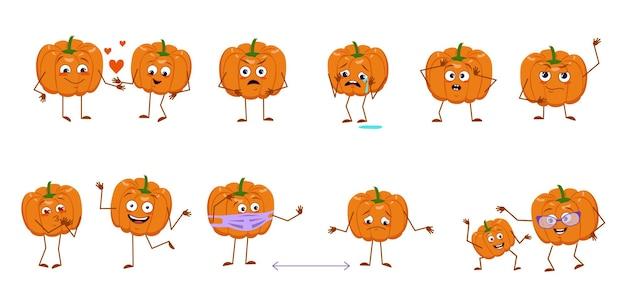 Set schattige pompoenkarakters met emoties, gezichten, armen en benen. vrolijke of verdrietige helden, oranje herfstgroenten spelen, worden verliefd, houden afstand. vector platte halloween decoraties.