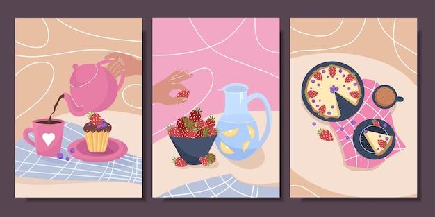 Set schattige posters met stillevens en gebak
