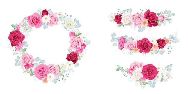 Set schattige rozenboeketten voor decoruitnodigingen en wenskaarten