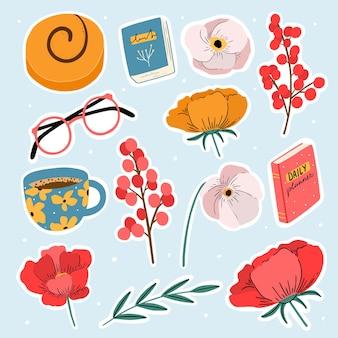 Set schattige stickers met bloemen glazen boeken