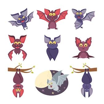 Set schattige vleermuizen halloween stripfiguren, grappige personages met lachende snuit, ondersteboven hangen of vliegen