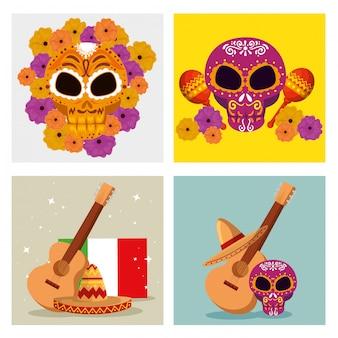 Set schedel decoratie met gitaar en hoed