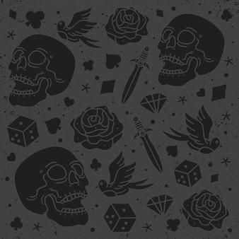 Set schedel ontwerp patroon vector
