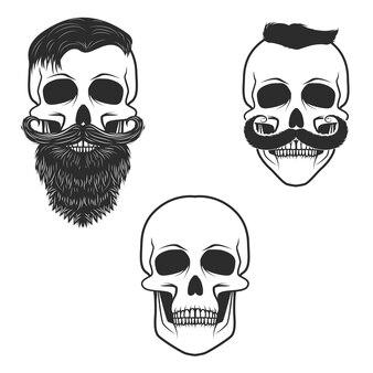 Set schedels met snor en baard