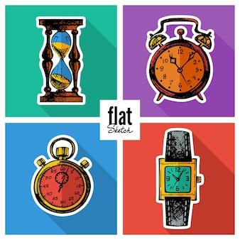 Set schets hand getrokken klokken. platte pictogrammen
