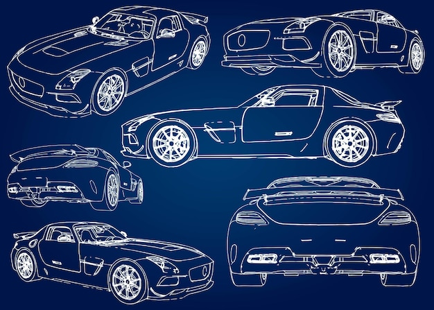 Set schets van een moderne sportwagen op een blauwe achtergrond met een verloop.