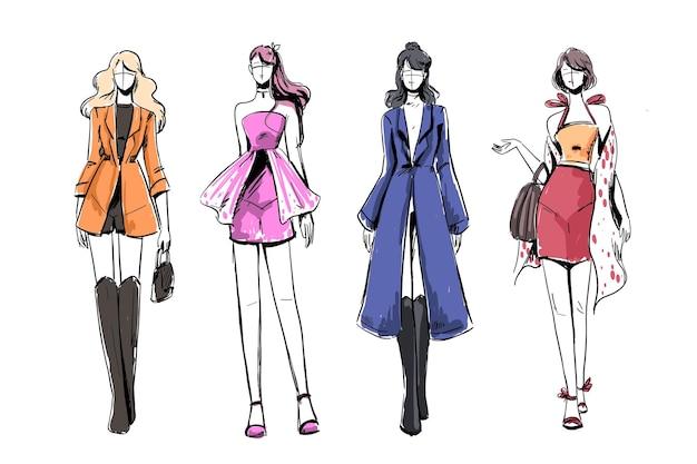 Set schetsen van mooie en diverse vrouwelijke mode-outfits.