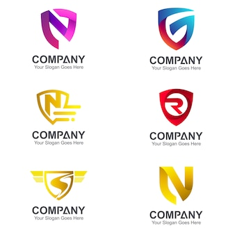 Set schilden logo combinatie met beginletter