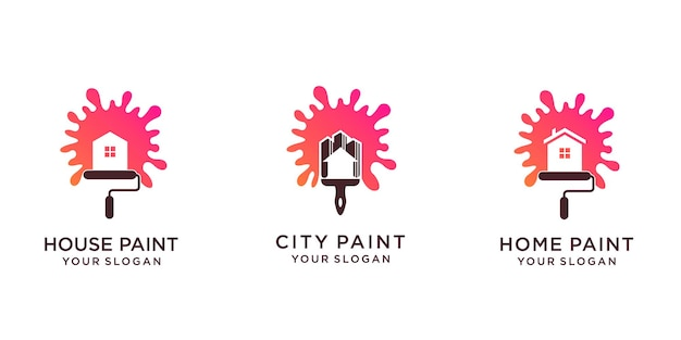 Set schilderij logo-ontwerp met huis of stad en kwast. premium vector