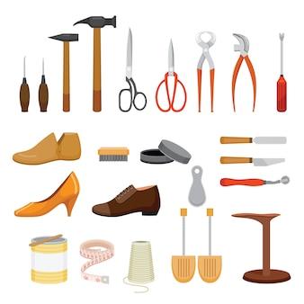 Set schoenen reparatie gereedschap en schoenen accessoires