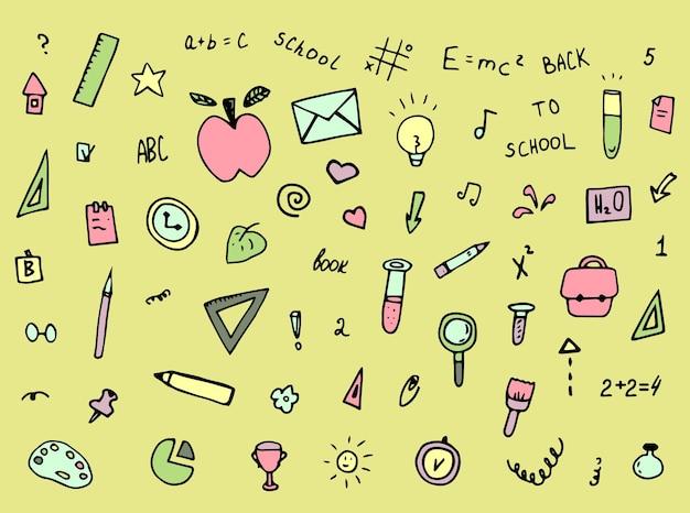 Set school doodles hand getekende collectie student elementen behang