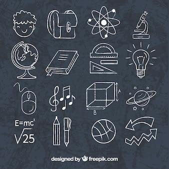 Set school elementen in schoolbordstijl