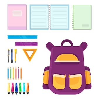 Set schoolbenodigdheden. kleurrijke objecten in cartoon-stijl.