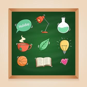 Set schoolbenodigdheden met gekleurde doodle stijl