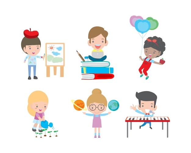 Set schoolkinderen in onderwijsconcept, happy cartoon kinderen in de klas, spelende kinderen en levensstijl, kind gaat naar school, terug naar school