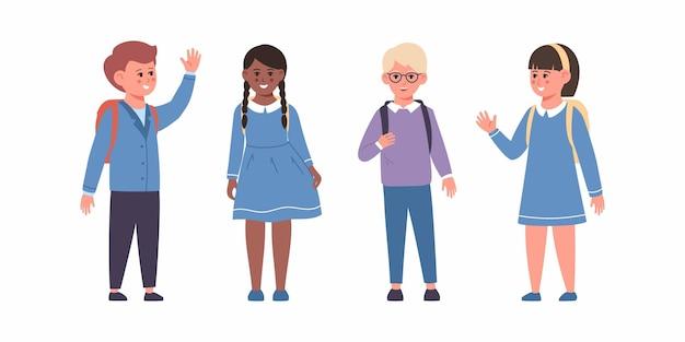 Set schoolkinderen met schoolbenodigdheden leerlingen met rugzakken vector set kleuters kinderen