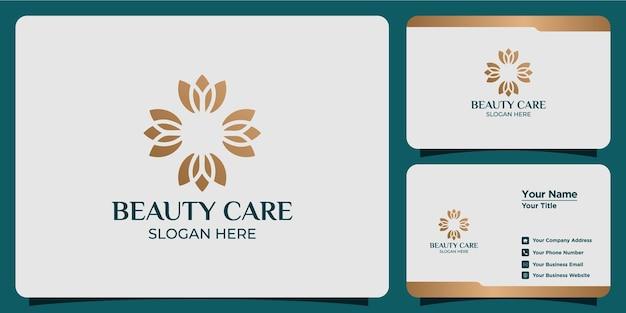 Set schoonheidsverzorgingslogo's en visitekaartjes