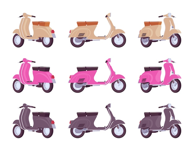 Set scooters in beige, roze, zwarte kleuren