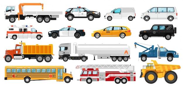 Set servicewagens. stad openbare speciale, hulpdiensten auto-voertuigen. geïsoleerde politie, ambulance auto, schoolbus, slepen, dump, tankwagen, brandweerwagen, taxi, bestelwagen icoon collectie. stedelijk autovervoer.