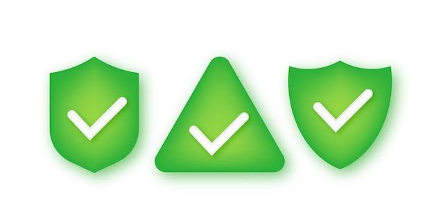 Set shield vinkje logo pictogram ontwerpsjabloon.