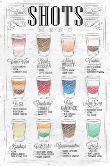 Set shots-menu met een shots-drankje met namen in vintage stijl