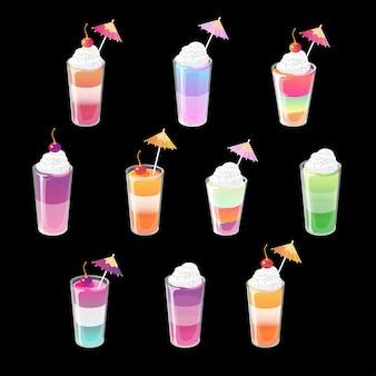 Set shots van cocktailgelei met toppings