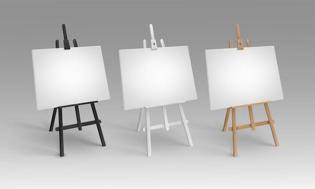 Set sienna houten schildersezels met lege doeken