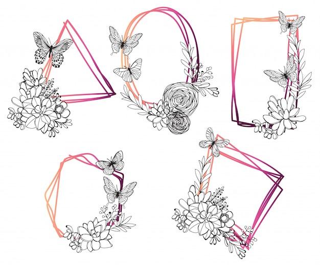 Set sier vintage frames. hand getrokken inkt illustratie op witte achtergrond