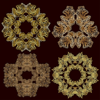 Set sieraad gouden mandala's. vintage decoratief element.
