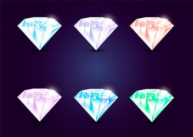 Set sieraden edelstenen, steen voor spel.