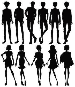 Set silhouet mensen karakter
