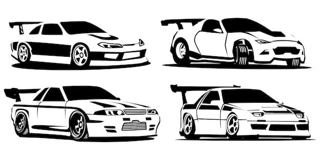 Set silhouet sportwagens