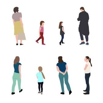 Set silhouet wandelende mensen en kinderen. vectorillustratie. eps10