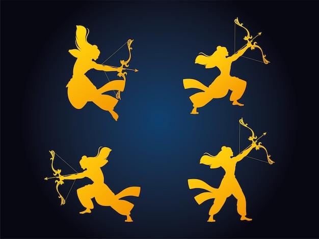 Set silhouetten van de heer rama met pijl en boog