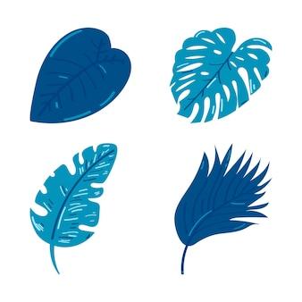 Set silhouetten van tropische bladeren geïsoleerd op wit