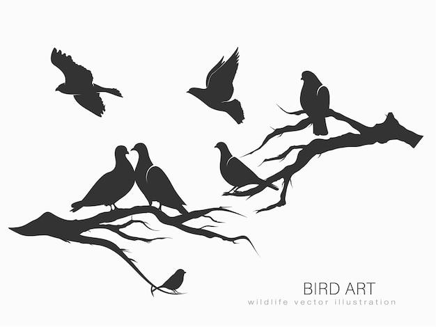 Set silhouetten van vogels in beweging op een witte achtergrond