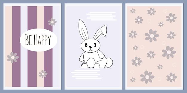 Set sjablonen en posters in scandinavische stijl met een schattig konijntje