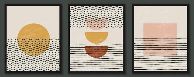Set sjablonen met abstracte vormen en lijn in naaktkleuren pastelachtergrond in minimalistische stijl