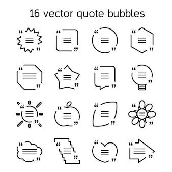 Set sjablonen van vierkante citaat tekst zeepbel in verschillende weergaven. motivatie citaat.