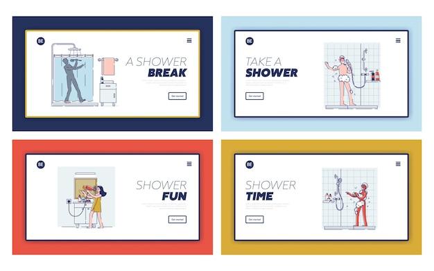Set sjablonen voor bestemmingspagina's met gelukkige mensen die zingen in de badkamer. stripfiguren die een douche of bad nemen