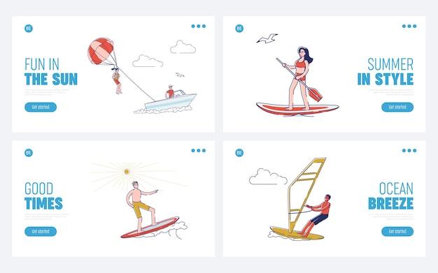 Set sjablonen voor bestemmingspagina's voor zomervakantie-activiteiten