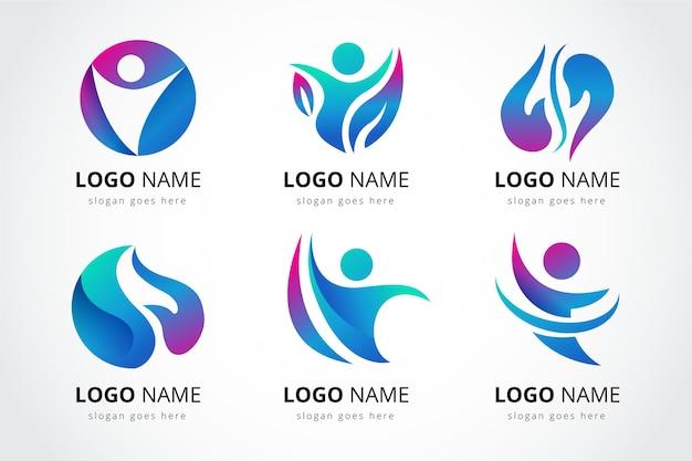 Set sjablonen voor logo's voor fysiotherapie met kleurovergang
